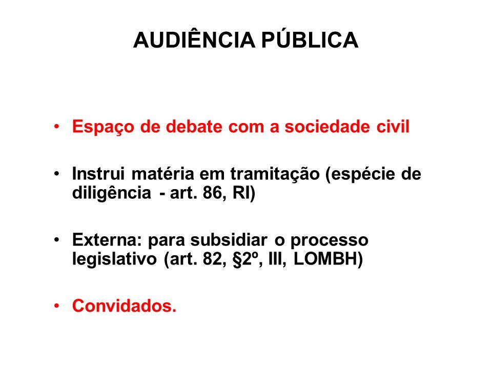 AUDIÊNCIA PÚBLICA Espaço de debate com a sociedade civil Instrui matéria em tramitação (espécie de diligência - art. 86, RI) Externa: para subsidiar o