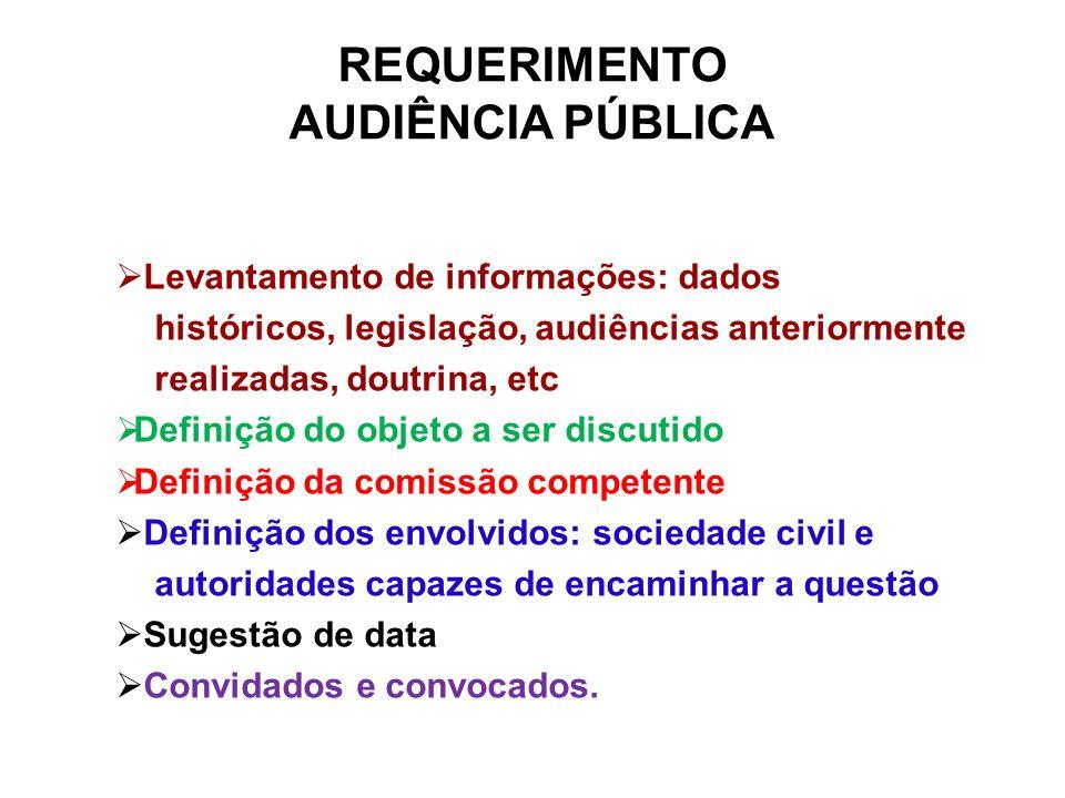 Levantamento de informações: dados históricos, legislação, audiências anteriormente realizadas, doutrina, etc Definição do objeto a ser discutido Defi