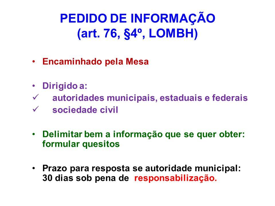 PEDIDO DE INFORMAÇÃO (art. 76, §4º, LOMBH) Encaminhado pela Mesa Dirigido a: autoridades municipais, estaduais e federais sociedade civil Delimitar be