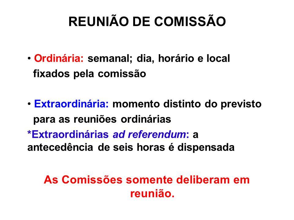 REUNIÃO DE COMISSÃO Ordinária: semanal; dia, horário e local fixados pela comissão Extraordinária: momento distinto do previsto para as reuniões ordin