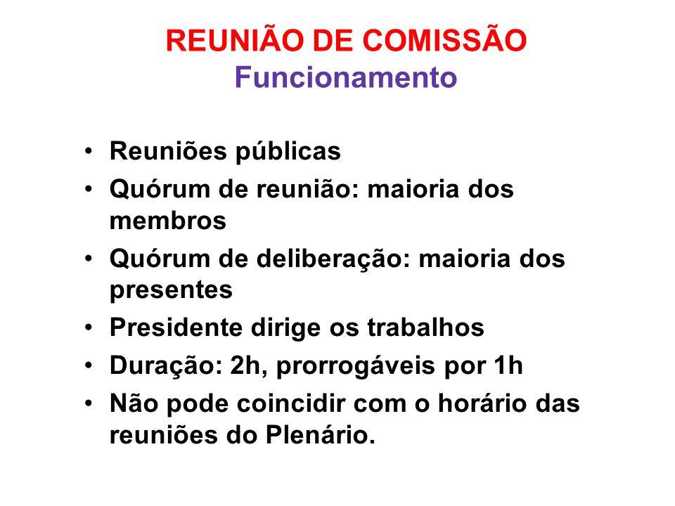 REUNIÃO DE COMISSÃO Funcionamento Reuniões públicas Quórum de reunião: maioria dos membros Quórum de deliberação: maioria dos presentes Presidente dir