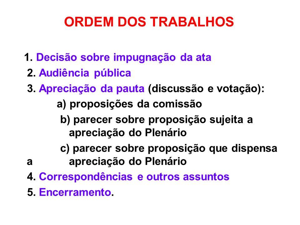 ORDEM DOS TRABALHOS 1. Decisão sobre impugnação da ata 2. Audiência pública 3. Apreciação da pauta (discussão e votação): a) proposições da comissão b