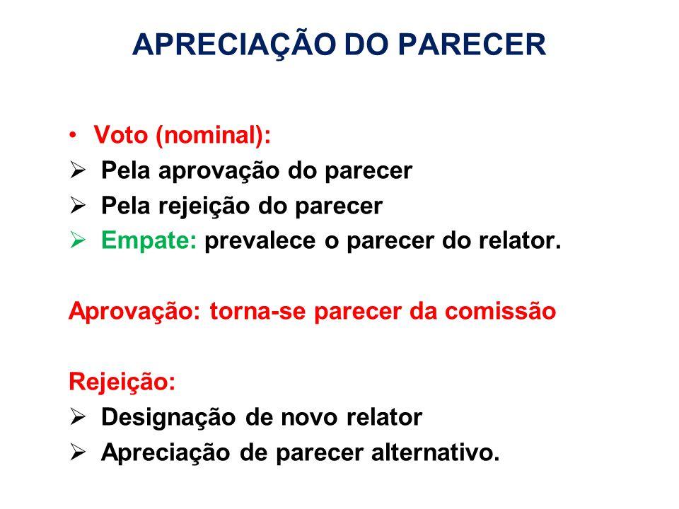 Voto (nominal): Pela aprovação do parecer Pela rejeição do parecer Empate: prevalece o parecer do relator. Aprovação: torna-se parecer da comissão Rej
