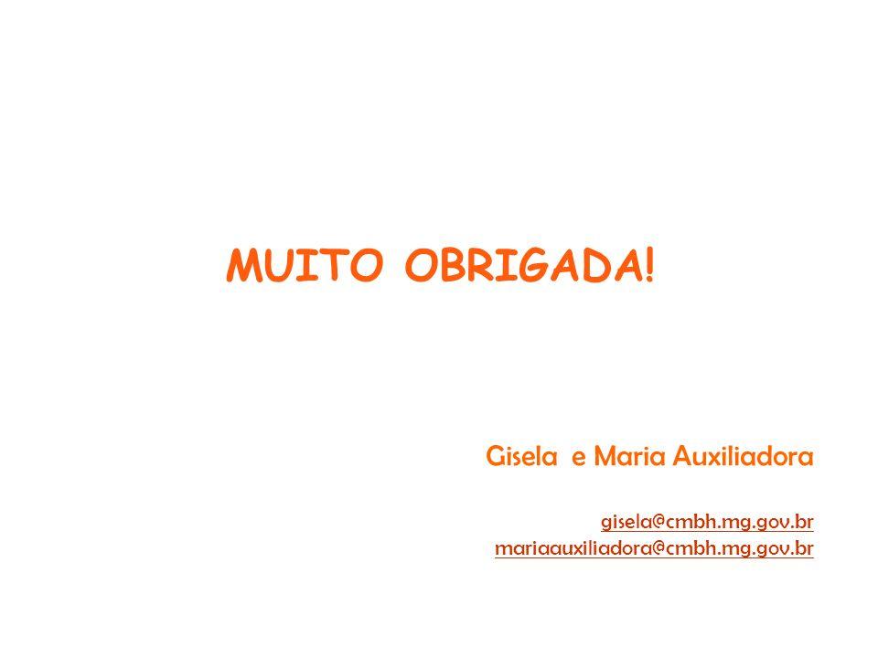 MUITO OBRIGADA! Gisela e Maria Auxiliadora gisela@cmbh.mg.gov.br mariaauxiliadora@cmbh.mg.gov.br