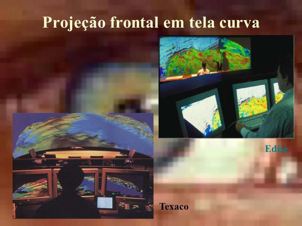 Projeção frontal em tela curva Edise Texaco