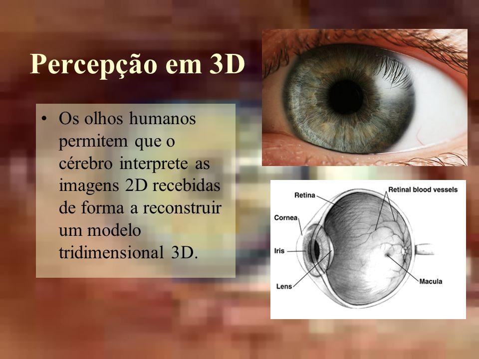 Percepção em 3D Os olhos humanos permitem que o cérebro interprete as imagens 2D recebidas de forma a reconstruir um modelo tridimensional 3D.