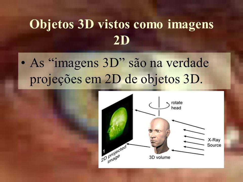 Objetos 3D vistos como imagens 2D As imagens 3D são na verdade projeções em 2D de objetos 3D.