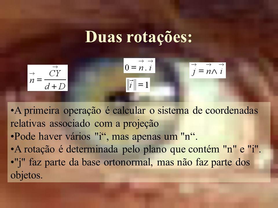 Duas rotações: A primeira operação é calcular o sistema de coordenadas relativas associado com a projeção Pode haver vários i, mas apenas um n.