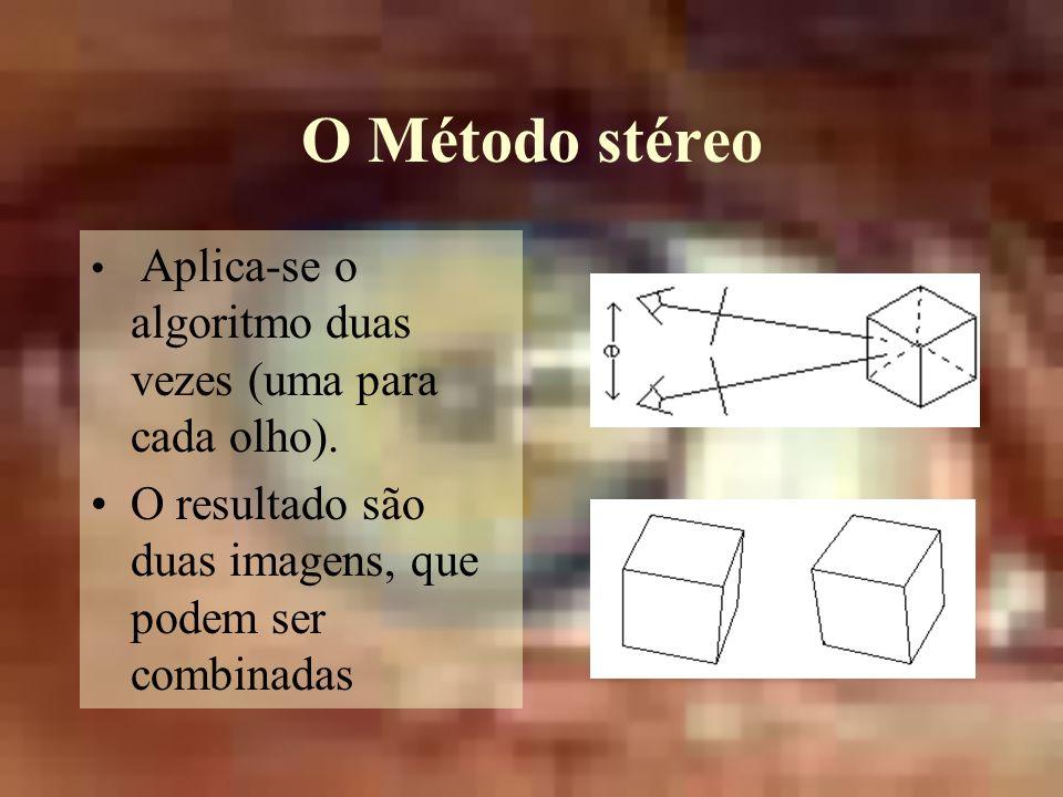 O Método stéreo Aplica-se o algoritmo duas vezes (uma para cada olho).