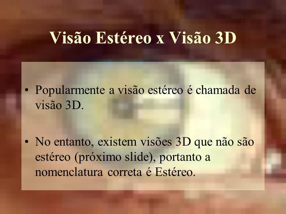 Visão Estéreo x Visão 3D Popularmente a visão estéreo é chamada de visão 3D.