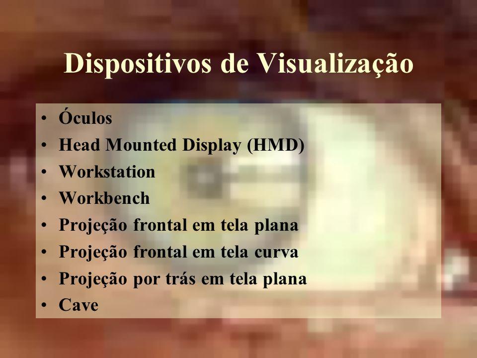 Dispositivos de Visualização Óculos Head Mounted Display (HMD) Workstation Workbench Projeção frontal em tela plana Projeção frontal em tela curva Projeção por trás em tela plana Cave