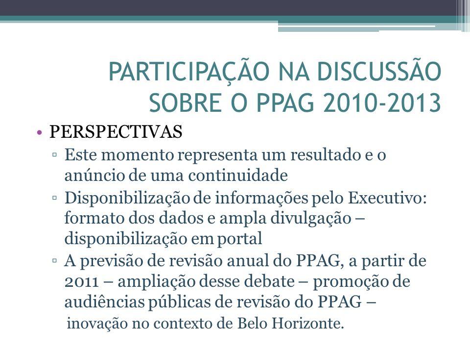 PARTICIPAÇÃO NA DISCUSSÃO SOBRE O PPAG 2010-2013 PERSPECTIVAS Este momento representa um resultado e o anúncio de uma continuidade Disponibilização de