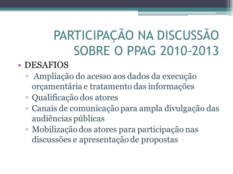 PARTICIPAÇÃO NA DISCUSSÃO SOBRE O PPAG 2010-2013 DESAFIOS Ampliação do acesso aos dados da execução orçamentária e tratamento das informações Qualific