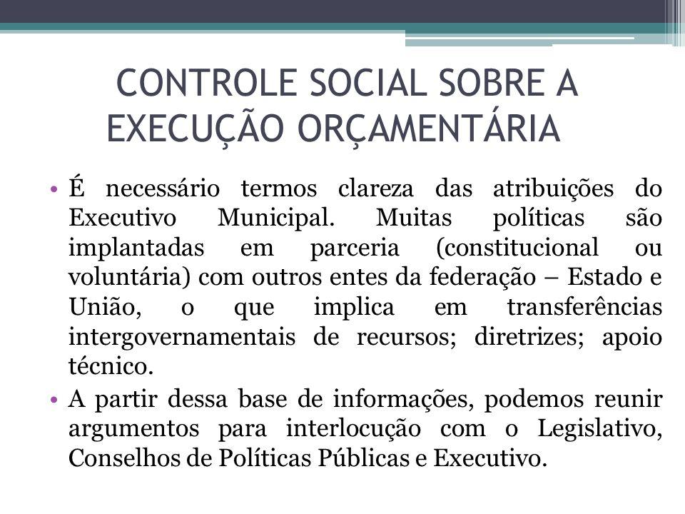 CONTROLE SOCIAL SOBRE A EXECUÇÃO ORÇAMENTÁRIA É necessário termos clareza das atribuições do Executivo Municipal. Muitas políticas são implantadas em