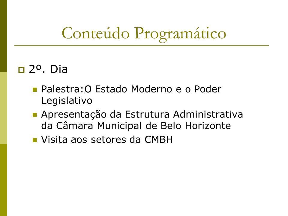 Conteúdo Programático 2º. Dia Palestra:O Estado Moderno e o Poder Legislativo Apresentação da Estrutura Administrativa da Câmara Municipal de Belo Hor