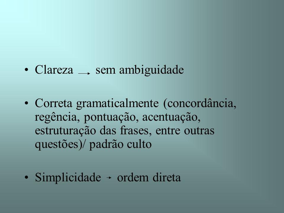 Clareza sem ambiguidade Correta gramaticalmente (concordância, regência, pontuação, acentuação, estruturação das frases, entre outras questões)/ padrã