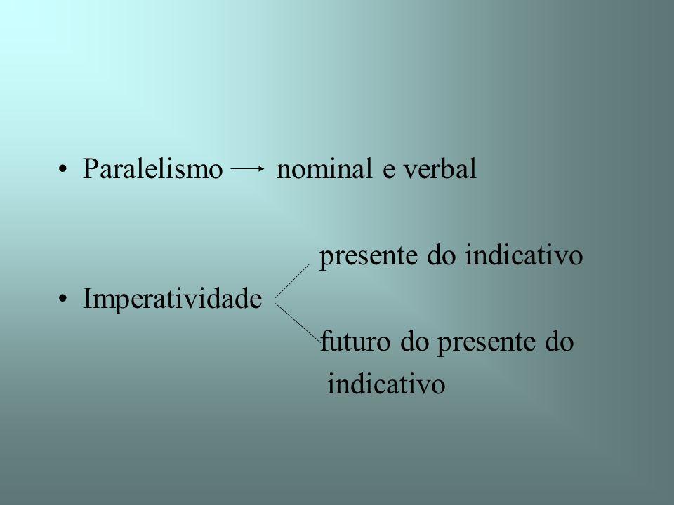 Paralelismo nominal e verbal presente do indicativo Imperatividade futuro do presente do indicativo