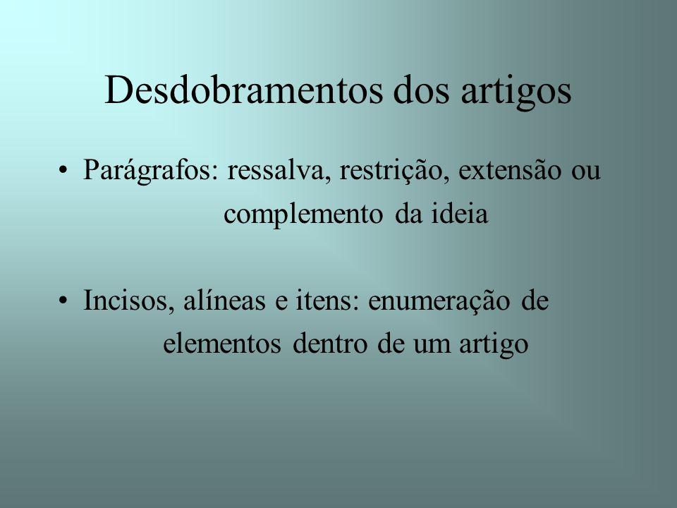 Desdobramentos dos artigos Parágrafos: ressalva, restrição, extensão ou complemento da ideia Incisos, alíneas e itens: enumeração de elementos dentro