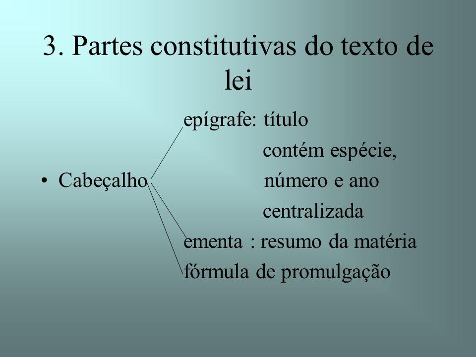 3. Partes constitutivas do texto de lei epígrafe: título contém espécie, Cabeçalho número e ano centralizada ementa : resumo da matéria fórmula de pro