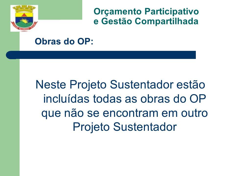Orçamento Participativo e Gestão Compartilhada Neste Projeto Sustentador estão incluídas todas as obras do OP que não se encontram em outro Projeto Su