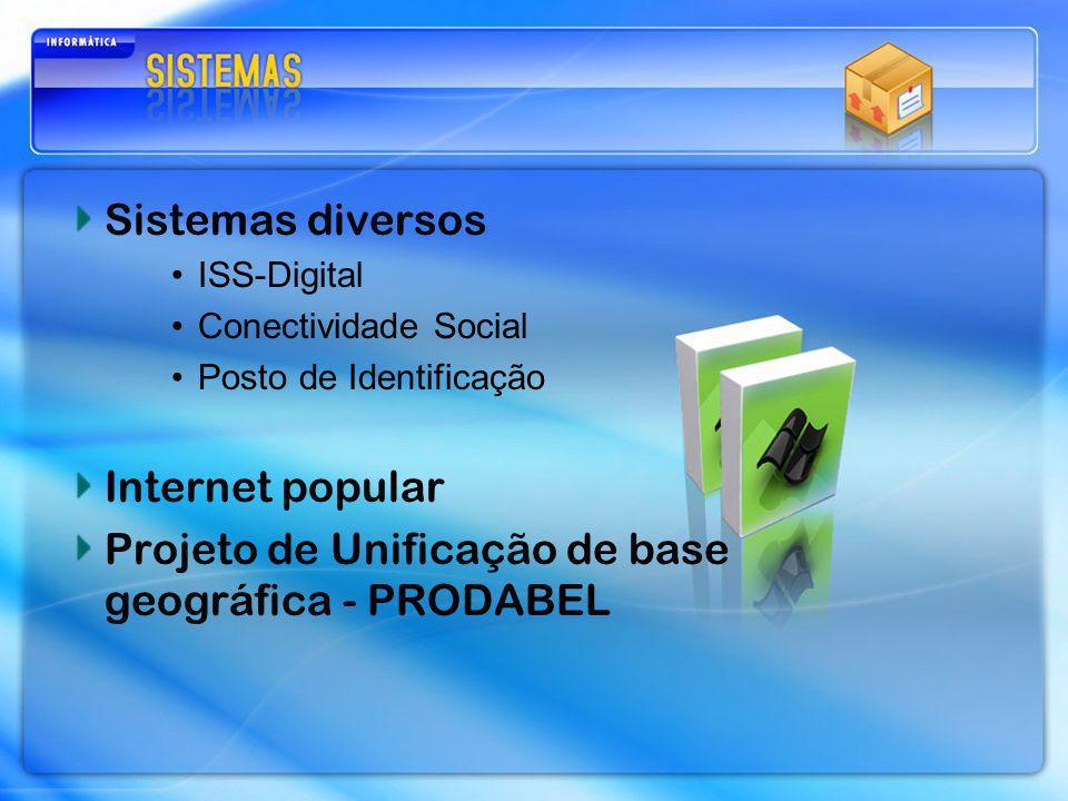 Sistemas diversos ISS-Digital Conectividade Social Posto de Identificação Internet popular Projeto de Unificação de base geográfica - PRODABEL