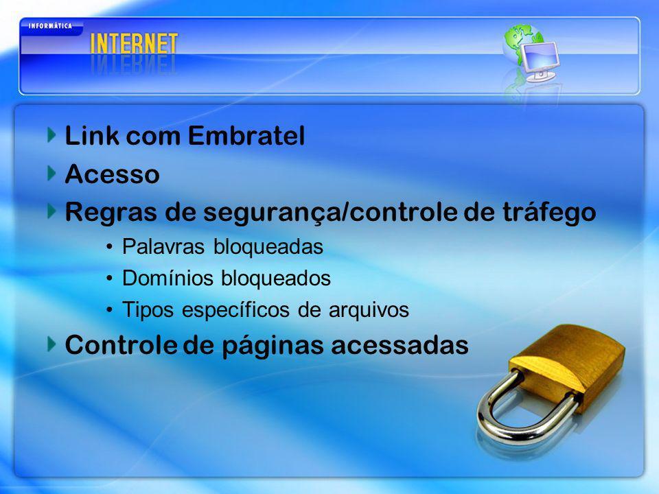 Link com Embratel Acesso Regras de segurança/controle de tráfego Palavras bloqueadas Domínios bloqueados Tipos específicos de arquivos Controle de pág