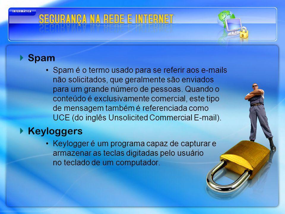 Spam Spam é o termo usado para se referir aos e-mails não solicitados, que geralmente são enviados para um grande número de pessoas. Quando o conteúdo