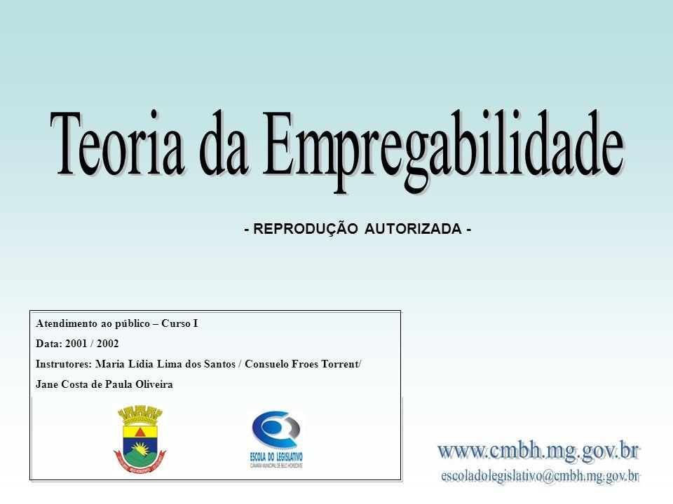 Atendimento ao público – Curso I Data: 2001 / 2002 Instrutores: Maria Lídia Lima dos Santos / Consuelo Froes Torrent/ Jane Costa de Paula Oliveira - REPRODUÇÃO AUTORIZADA -