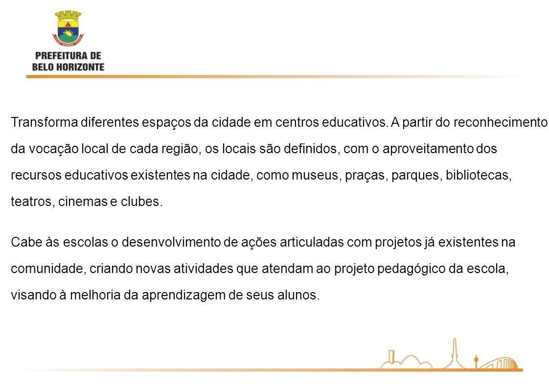 Transforma diferentes espaços da cidade em centros educativos. A partir do reconhecimento da vocação local de cada região, os locais são definidos, co