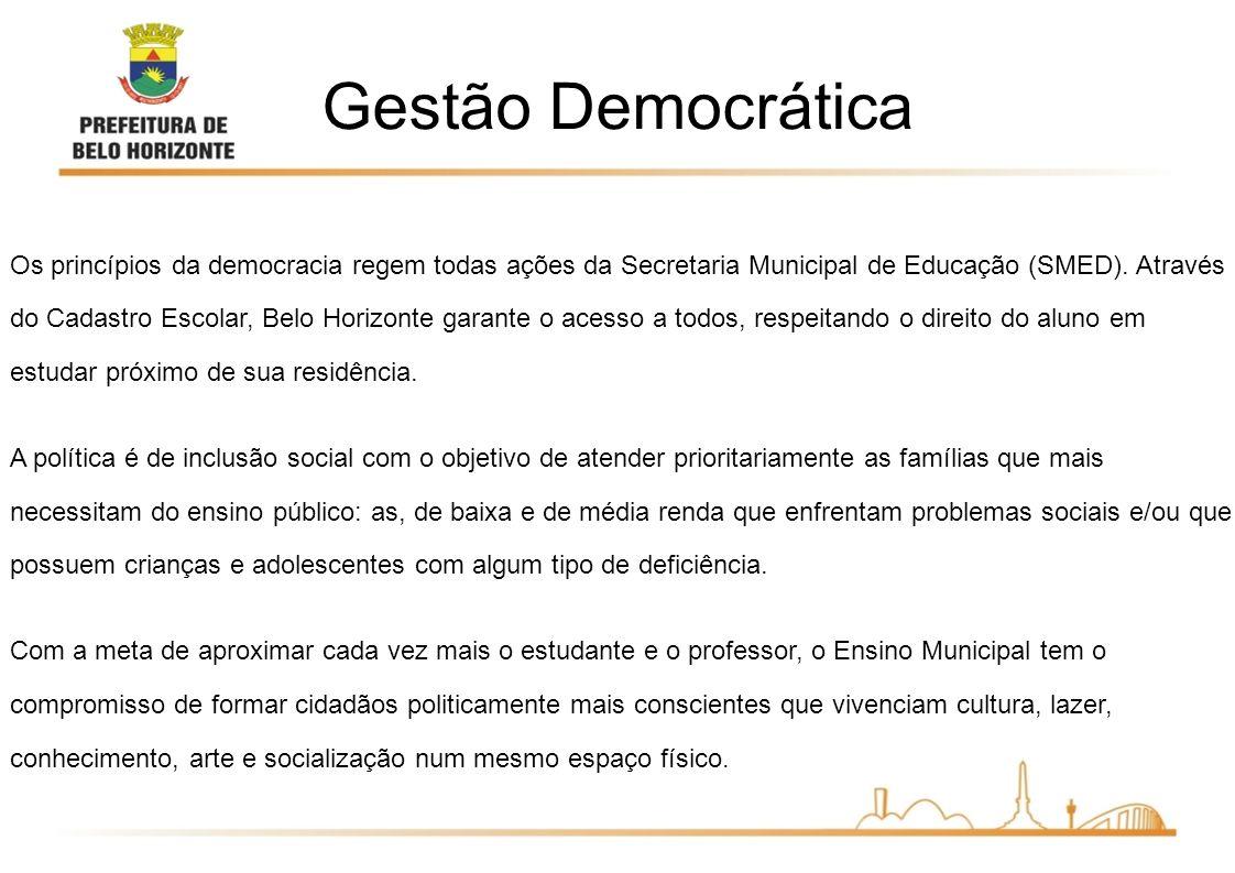Os princípios da democracia regem todas ações da Secretaria Municipal de Educação (SMED). Através do Cadastro Escolar, Belo Horizonte garante o acesso