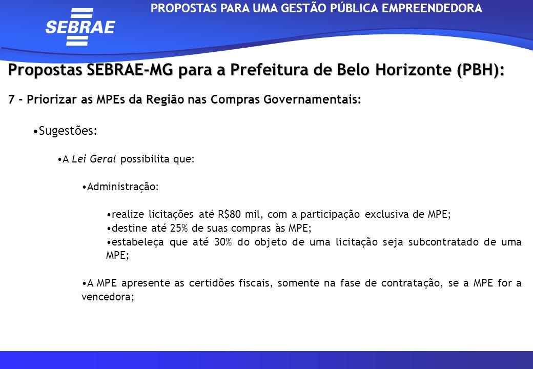 Propostas SEBRAE-MG para a Prefeitura de Belo Horizonte (PBH): 7 - Priorizar as MPEs da Região nas Compras Governamentais: Sugestões: A Lei Geral poss