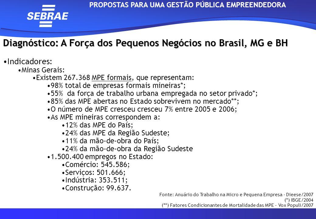 Diagnóstico: A Força dos Pequenos Negócios no Brasil, MG e BH Indicadores: Belo Horizonte Existem 63.498 MPE formais, que representam: 97,23% total de empresas do Município; 30,63% empregos gerados em no setor privado; O número de MPE cresceu cresceu 3,14% entre 2006 e 2007; As MPE mineiras correspondem a: 19,94% das MPE do Estado de Minas Gerais; 4,84% das MPE da Região Sudeste; 23,33%da mão-de-obra do País; 24% da mão-de-obra do Estado de Minas Gerais; 4,95% da mão-de-obra da Região Sudeste.