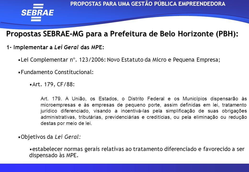 Propostas SEBRAE-MG para a Prefeitura de Belo Horizonte (PBH): 1- Implementar a Lei Geral das MPE: Lei Complementar nº. 123/2006: Novo Estatuto da Mic