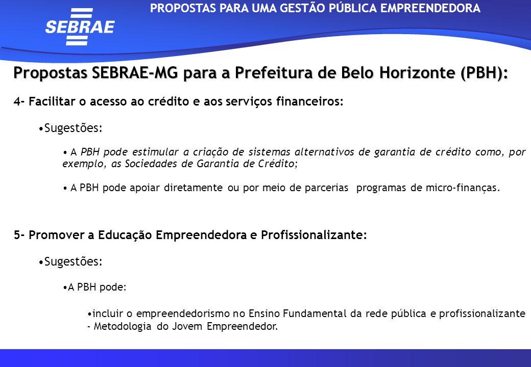 Propostas SEBRAE-MG para a Prefeitura de Belo Horizonte (PBH): 6- Promover iniciativas que facilitem o acesso a Inovação e Tecnologia: Sugestões: Criação e desenvolvimento de Habitats de Inovação: 1)Intensificar as parcerias com as Universidades por meio, por exemplo, do apoio a incubadora de empresas da UFMG (INOVA); 2)Implantação dos CVT`s (Centro Vocacional Tecnológico) em parceria com a Secretaria de Estado de Ciência e Tecnologia; 3)Apoio ao PII (Programa de Incentivo a Inovação).