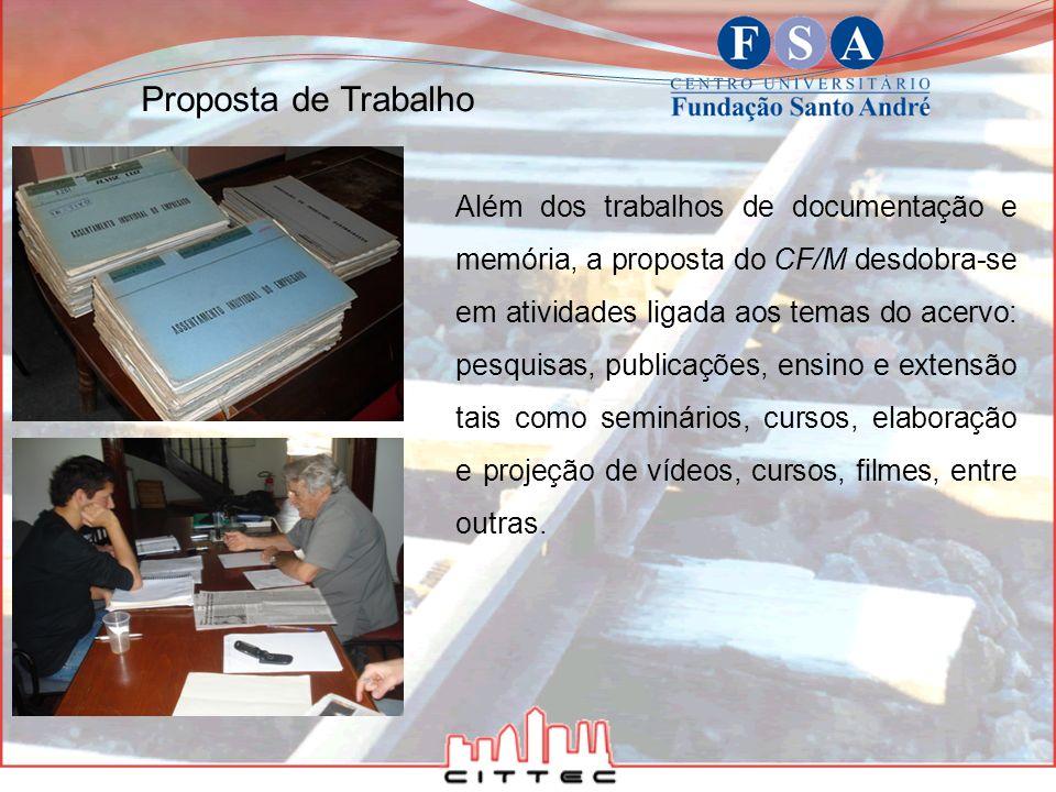 Além dos trabalhos de documentação e memória, a proposta do CF/M desdobra-se em atividades ligada aos temas do acervo: pesquisas, publicações, ensino