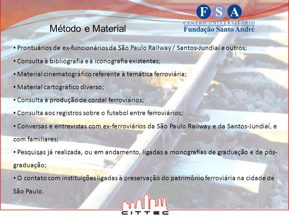 Prontuários de ex-funcionários da São Paulo Railway / Santos-Jundiaí e outros; Consulta à bibliografia e à iconografia existentes; Material cinematogr