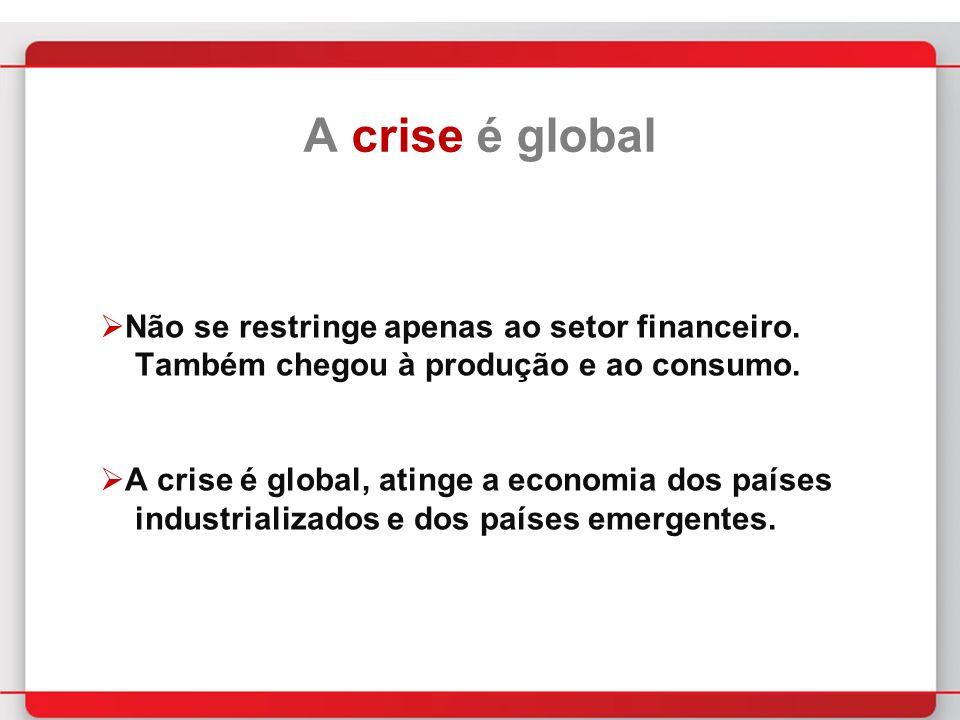 A crise é global Não se restringe apenas ao setor financeiro.