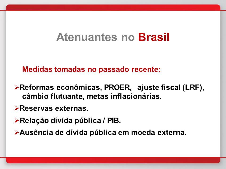 Medidas tomadas no passado recente: Reformas econômicas, PROER, ajuste fiscal (LRF), câmbio flutuante, metas inflacionárias.