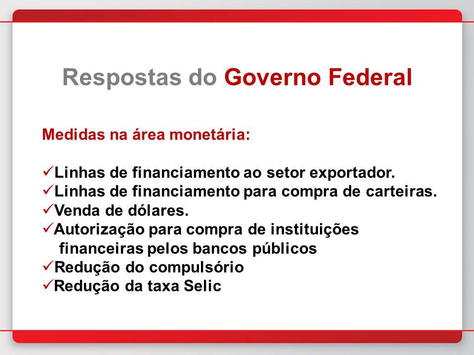 Medidas na área monetária: Linhas de financiamento ao setor exportador.