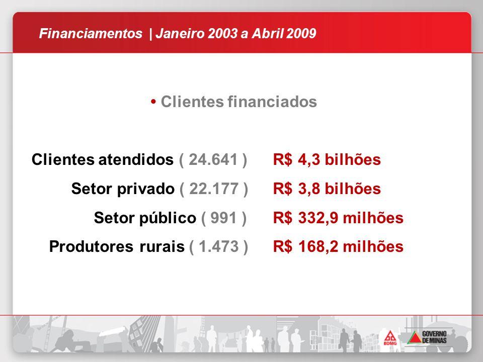 Clientes financiados Clientes atendidos ( 24.641 )R$ 4,3 bilhões Setor privado ( 22.177 )R$ 3,8 bilhões Setor público ( 991 )R$ 332,9 milhões Produtores rurais ( 1.473 )R$ 168,2 milhões Financiamentos | Janeiro 2003 a Abril 2009