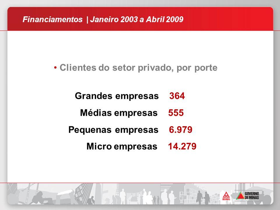 Clientes do setor privado, por porte Grandes empresas 364 Médias empresas 555 Pequenas empresas 6.979 Micro empresas 14.279 Financiamentos | Janeiro 2003 a Abril 2009