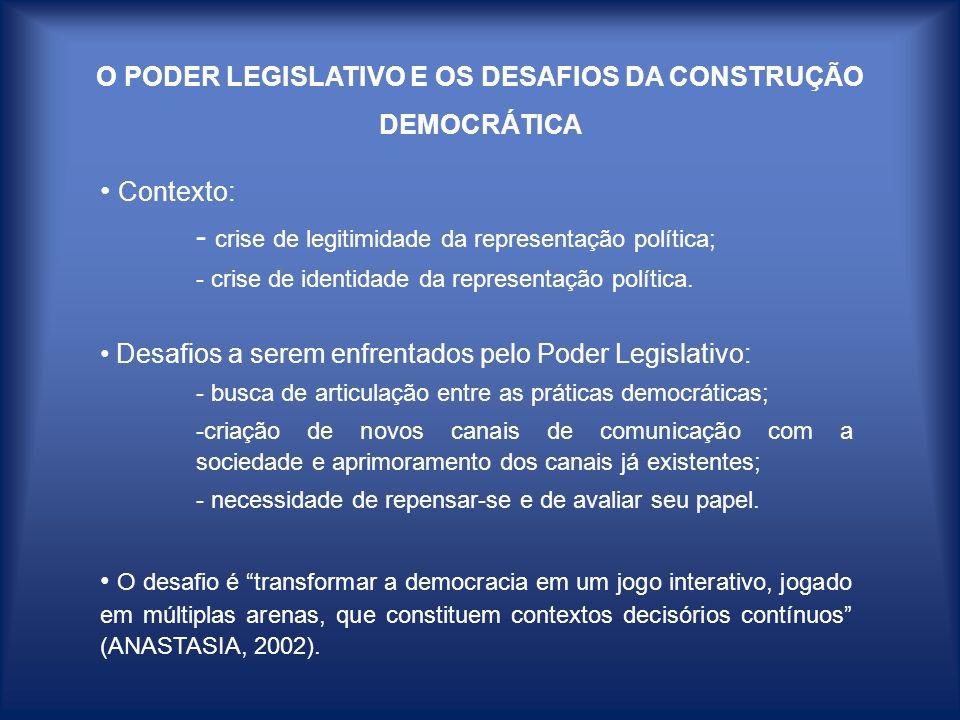 O PODER LEGISLATIVO E OS DESAFIOS DA CONSTRUÇÃO DEMOCRÁTICA Contexto: - crise de legitimidade da representação política; - crise de identidade da repr