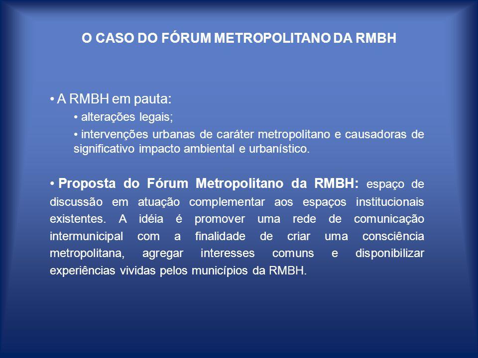 O CASO DO FÓRUM METROPOLITANO DA RMBH A RMBH em pauta : alterações legais; intervenções urbanas de caráter metropolitano e causadoras de significativo