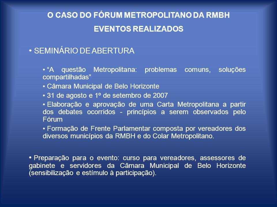 O CASO DO FÓRUM METROPOLITANO DA RMBH EVENTOS REALIZADOS SEMINÁRIO DE ABERTURA A questão Metropolitana: problemas comuns, soluções compartilhadas Câma