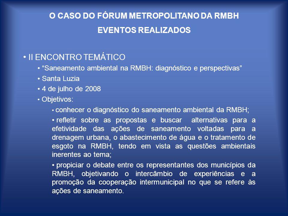 O CASO DO FÓRUM METROPOLITANO DA RMBH EVENTOS REALIZADOS II ENCONTRO TEMÁTICO Saneamento ambiental na RMBH: diagnóstico e perspectivas Santa Luzia 4 d