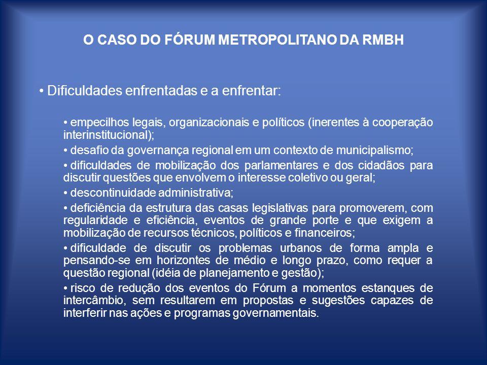 O CASO DO FÓRUM METROPOLITANO DA RMBH Dificuldades enfrentadas e a enfrentar: empecilhos legais, organizacionais e políticos (inerentes à cooperação i