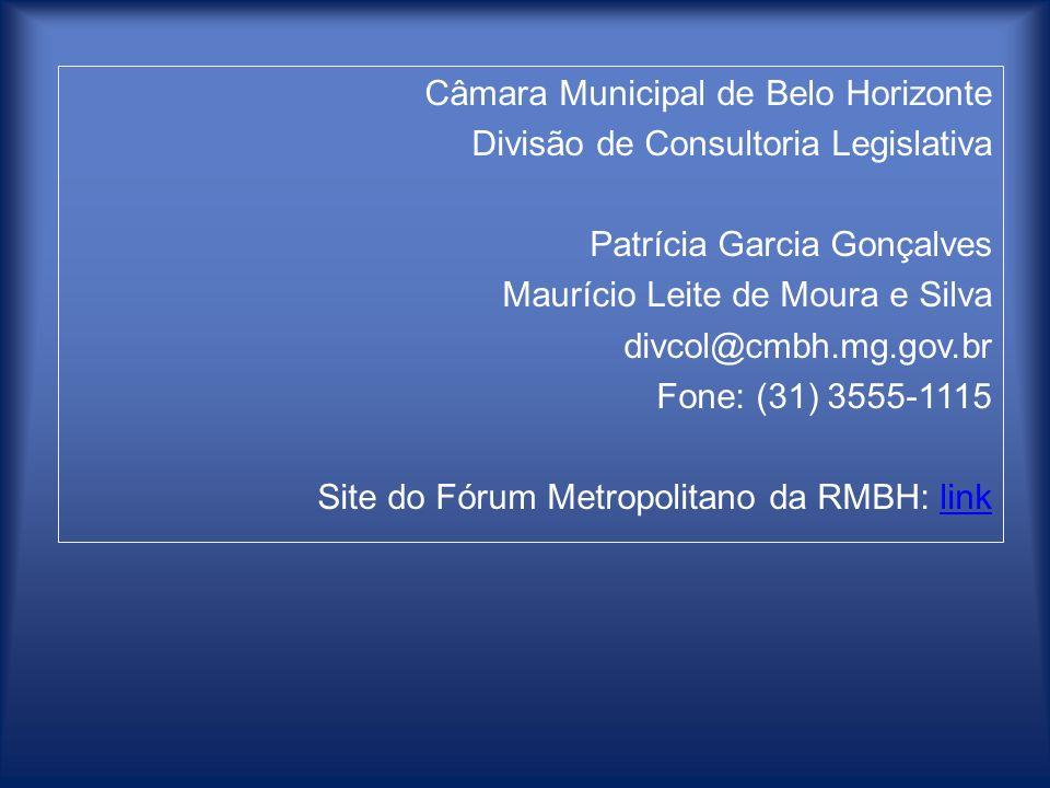 Câmara Municipal de Belo Horizonte Divisão de Consultoria Legislativa Patrícia Garcia Gonçalves Maurício Leite de Moura e Silva divcol@cmbh.mg.gov.br