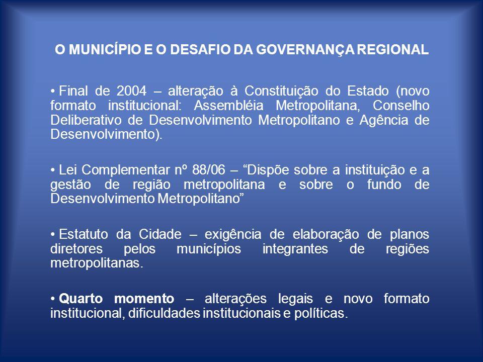 O MUNICÍPIO E O DESAFIO DA GOVERNANÇA REGIONAL Final de 2004 – alteração à Constituição do Estado (novo formato institucional: Assembléia Metropolitan