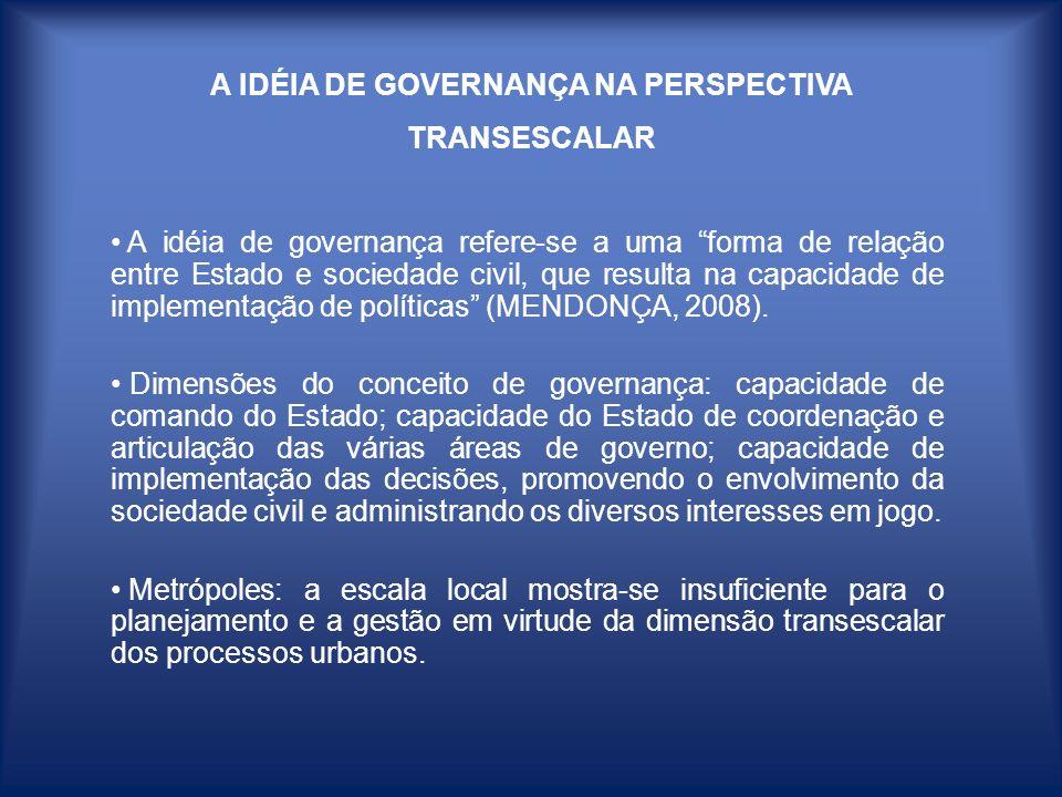 A IDÉIA DE GOVERNANÇA NA PERSPECTIVA TRANSESCALAR A idéia de governança refere-se a uma forma de relação entre Estado e sociedade civil, que resulta n