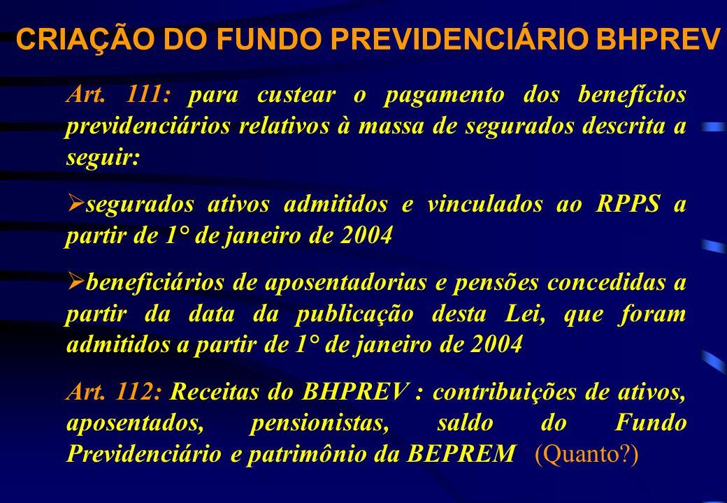 CRIAÇÃO DO FUNDO PREVIDENCIÁRIO BHPREV Art.